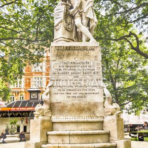 Statue of William Shakespeare in Leicester Square, London, UK