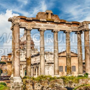 Temple of Saturn ruins in Roman Forum, Rome, Italy