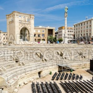 The Roman amphitheatre in Sant'Oronzo square, Lecce, Salento, Italy