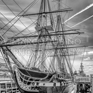 The USS Constitution frigate docked in the Boston Harbor, USA