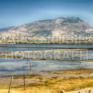 The salt flats of Motya near Trapani, Sicily, Italy