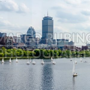 View of the Boston skyline from the bay, USA