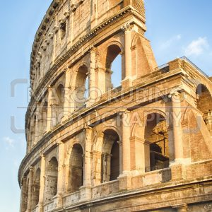 View over the Flavian Amphitheatre, aka Colosseum in Rome, Italy