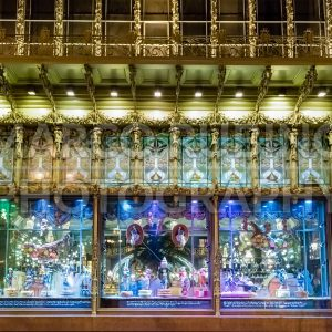 Windows outside the Saint Petersburg Comedy Theatre at night, Russia