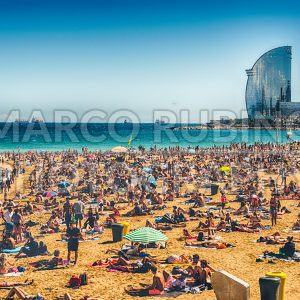 A sunny day on the Barceloneta beach, Barcelona, Catalonia, Spain