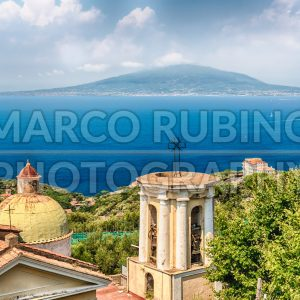 Aerial view of Mount Vesuvius, Bay of Naples, Italy