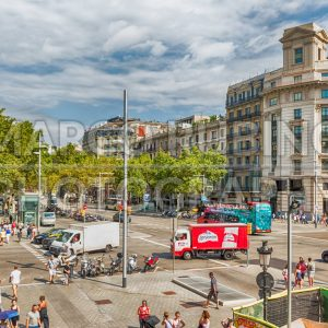 Aerial view of Passeig de Gracia, Barcelona, Catalonia, Spain