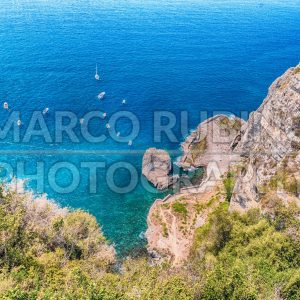 Aerial view of the coastline of Sorrento Peninsula, Italy