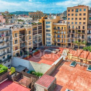 Aerial view over an inner courtyard in Barcelona, Catalonia, Spain