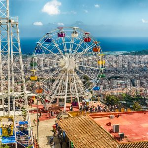 Aerial view over the Tibidabo Amusement Park, Barcelona, Catalonia, Spain