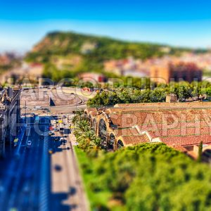 Aerial view with Montjuic mountain in background, Barcelona, Catalonia, Spain