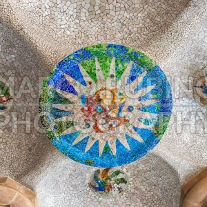 Ceiling with mosaic in Park Guell, Barcelona, Catalonia, Spain