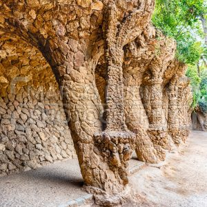 Colonnaded pathway in Park Guell, Barcelona, Catalonia, Spain
