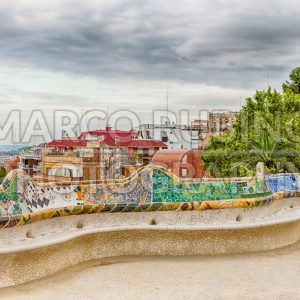 Colorful main terrace of Park Guell, Barcelona, Catalonia, Spain