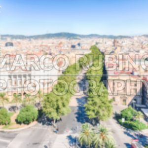 Defocused background of La Rambla pedestrian mall, Barcelona, Catalonia, Spain