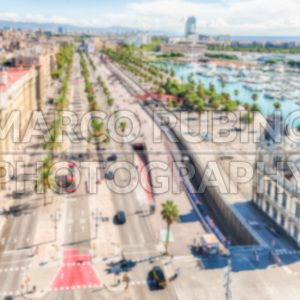 Defocused background of Passeig de Colom, Barcelona, Catalonia, Spain