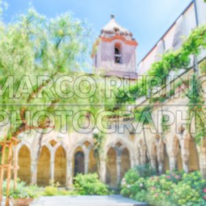 Defocused background of an ancient cloister in Sorrento, Italy