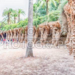 Defocused background of colonnaded pathway, Park Guell, Barcelona, Catalonia, Spain