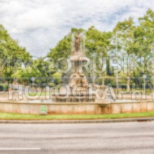 Defocused background of fountain on Montjuic hill, Barcelona, Catalonia, Spain