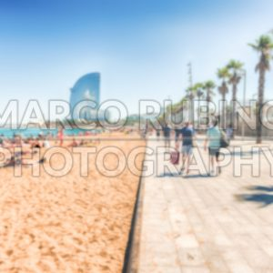 Defocused background of the Barceloneta beach, Barcelona, Catalonia, Spain