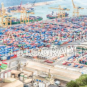 Defocused background of the Port of Barcelona, Catalonia, Spain
