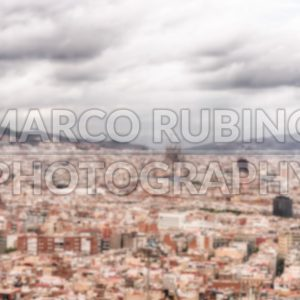 Defocused background with aerial view of Barcelona, Catalonia, Spain