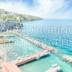 Defocused background with aerial view of Sorrento, Italy