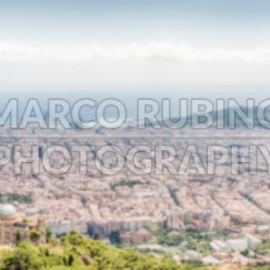Defocused background with aerial view over Barcelona, Catalonia, Spain