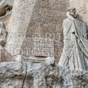 Detail of the Passion Facade, Sagrada Familia, Barcelona, Catalonia, Spain
