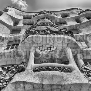 Facade of the modernist masterpiece Casa Mila, Barcelona, Catalonia, Spain