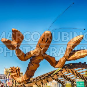Funky lobster statue on Passeig de Colom, Barcelona, Catalonia, Spain