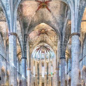 Interior of Santa Maria del Mar in Barcelona, Catalonia, Spain