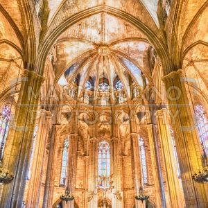 Interior of the Barcelona Cathedral, Catalonia, Spain