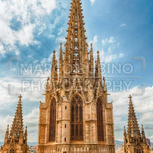 Main tower of the Barcelona Cathedral, Catalonia, Spain