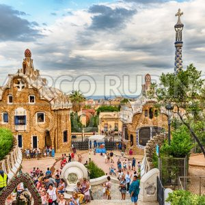 Modernist buildings in Park Guell, Barcelona, Catalonia, Spain