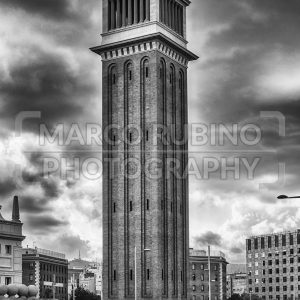 One of the Venetian Towers, landmarks in Barcelona, Catalonia, Spain