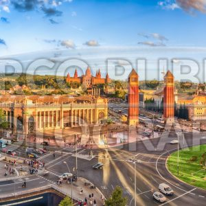 Panoramic aerial view of Placa d'Espanya in Barcelona, Catalonia, Spain