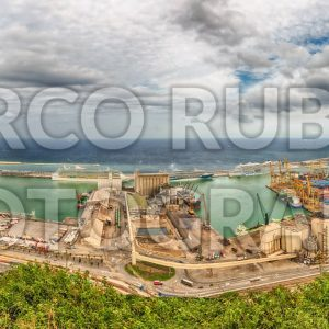 Panoramic aerial view over the Port of Barcelona, Catalonia, Spain