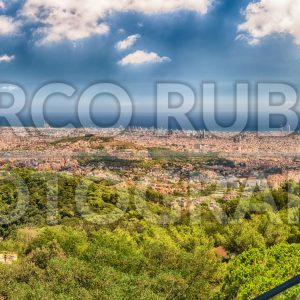 Panoramic view from Tibidabo mountain over Barcelona, Catalonia, Spain