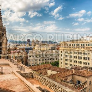 Panoramic view from the top of Barcelona Cathedral, Catalonia, Spain