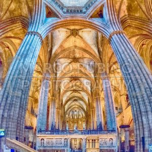 Panoramic view inside Barcelona Cathedral, Catalonia, Spain