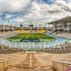Panoramic view inside the Olympic Stadium, Montjuic, Barcelona, Catalonia, Spain