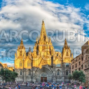 Panoramic view of Barcelona Cathedral, Catalonia, Spain