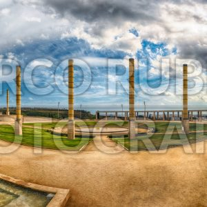 Panoramic view of the Olympic Park, Montjuic, Barcelona, Catalonia, Spain