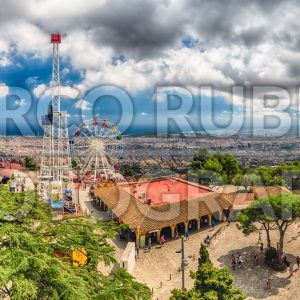 Panoramic view over the Tibidabo Amusement Park, Barcelona, Catalonia, Spain
