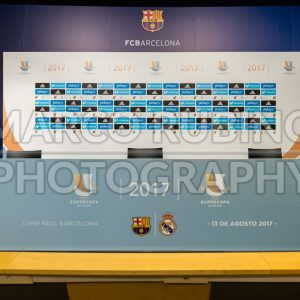Press conference room for Spanish Super Cup, Barcelona, Catalonia, Spain