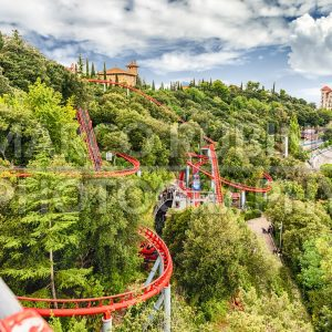 Rollercoaster attraction at Tibidabo Amusement Park, Barcelona, Catalonia, Spain