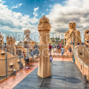 Rooftop of the modernist masterpiece Casa Mila, Barcelona, Catalonia, Spain