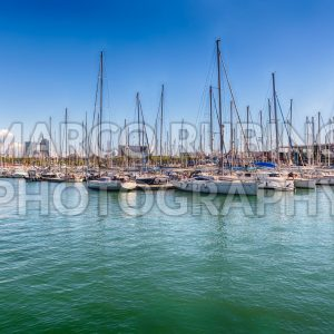 Sailboats and ships docked in Port Vell, Barcelona, Catalonia, Spain