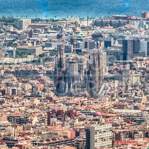 Scenic aerial view of the Sagrada Familia, Barcelona, Catalonia, Spain